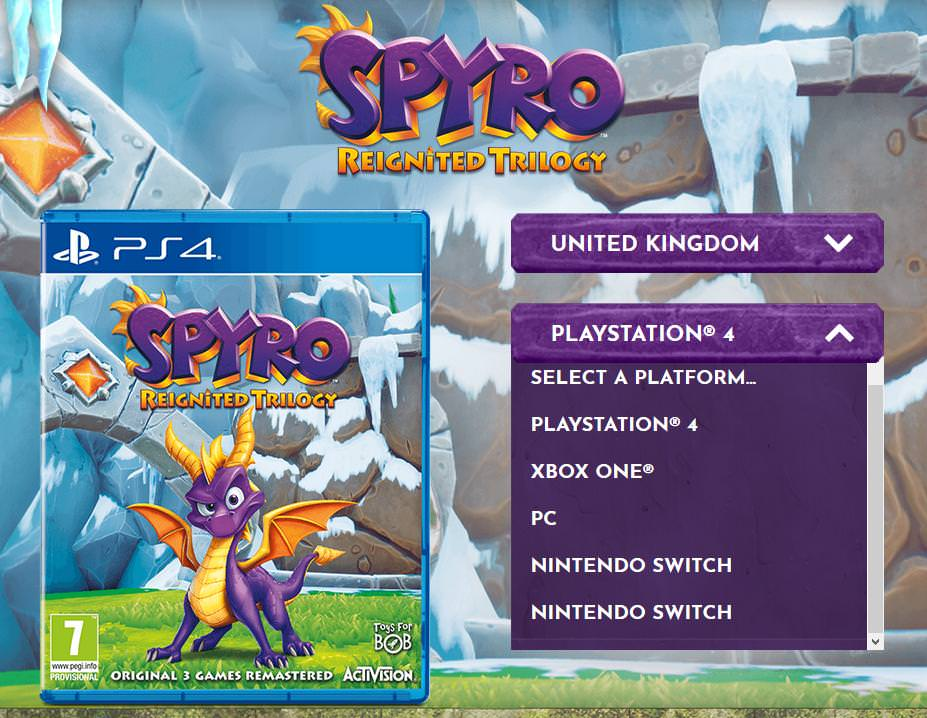 PC and Switch versions of Spyro: Reignited Trilogy were leaked on an official website