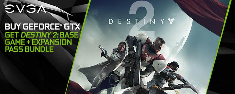EVGA bundles its Geforce 10-series graphics cards with Destiny 2 and its expansion pass