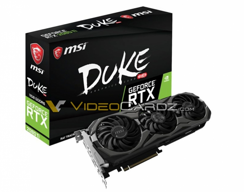 MSI's Geforce RTX 2080 Ti and RTX 2080 DUKE pictured