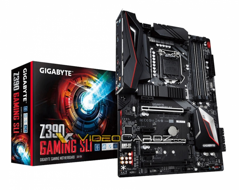 Gigabyte's Z370 Gaming SLI and Aorus Elite motherboards pictured
