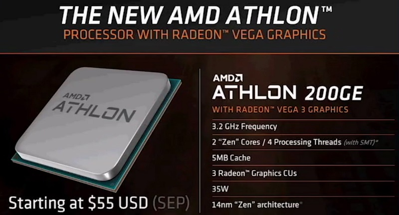 AMD reveals their Athlon 200GE APU with Vega 3 graphics