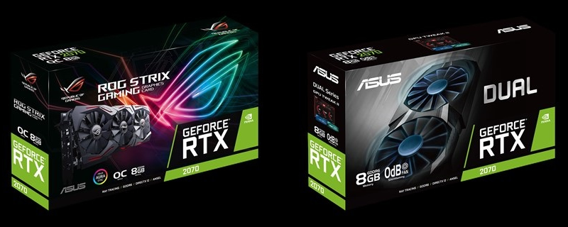 ASUS ROG RTX 2070 Strix OC and RTX 2070 Dual pictured
