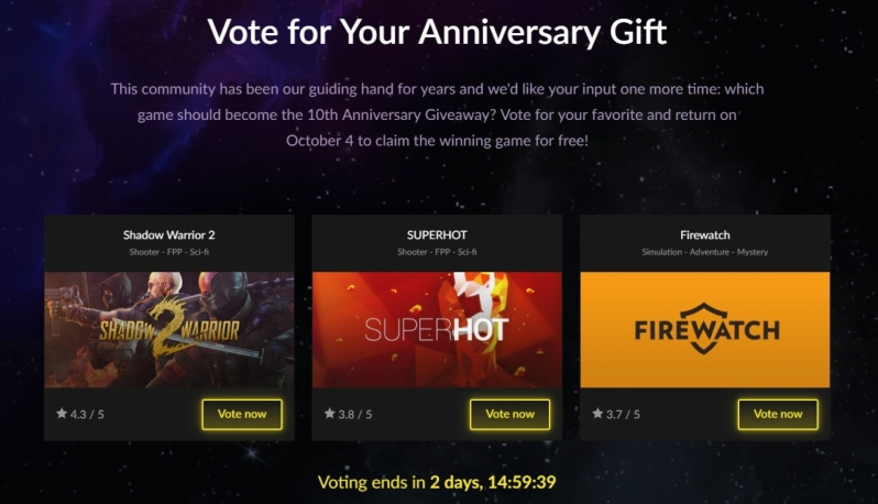 GOG celebrates their 10th Anniversary with a game giveaway