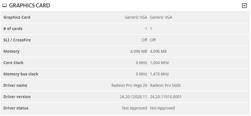AMD Radeon pro Vega 20 appears on the 3DMARK Database