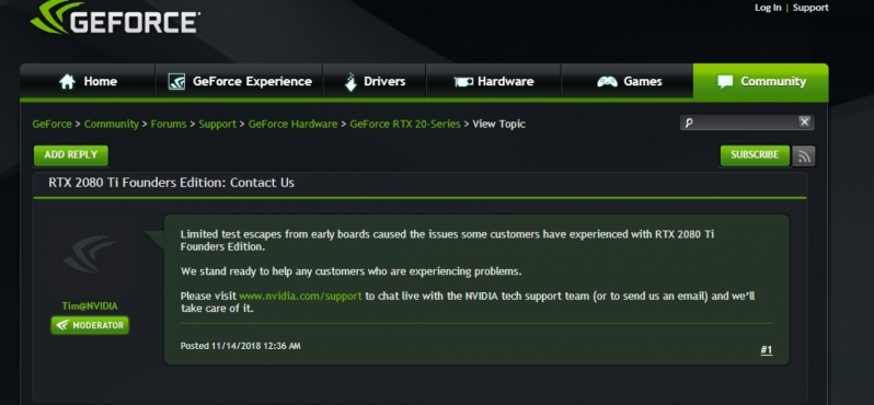 Nvidia Confirms Issues Impacting Early Production Run RTX 2080 Ti GPUs