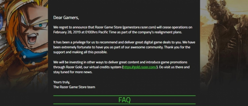 The Razer Game Store is Shutting Down