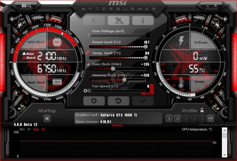 MSI GTX 1660Ti Gaming X Overclocking GPUz
