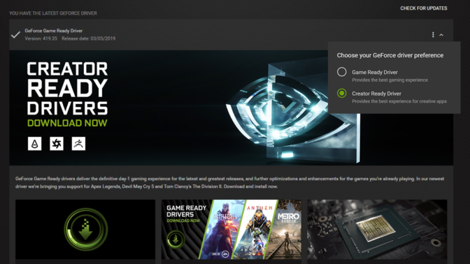 Nvidia releases their first Creator Ready Graphics Driver