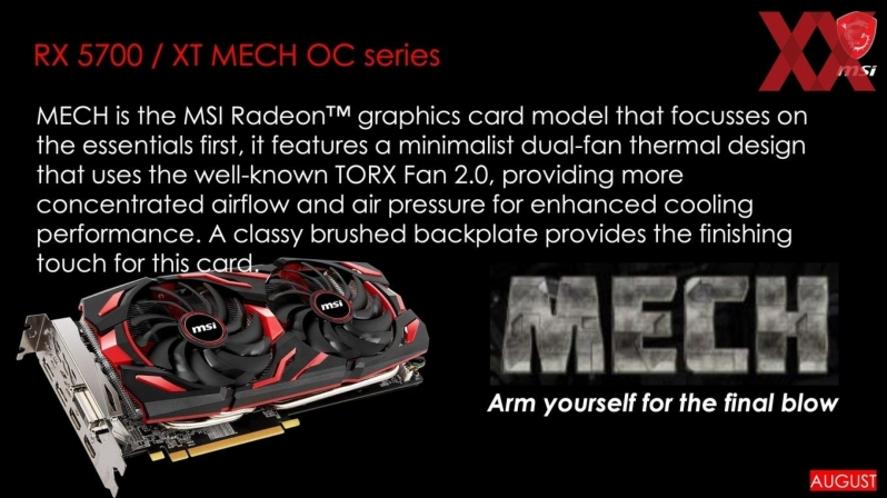 MSI plans to release Seven Custom RX 5700 series GPUs in August