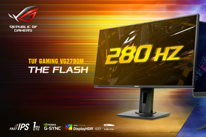 ASUS' TUF Gaming VG279QM will deliver 280Hz refresh rates and ELMB-sync on an IPS panel