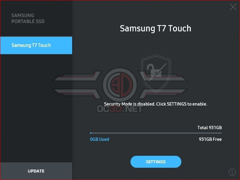 Samsung T7 Touch 1TB Software