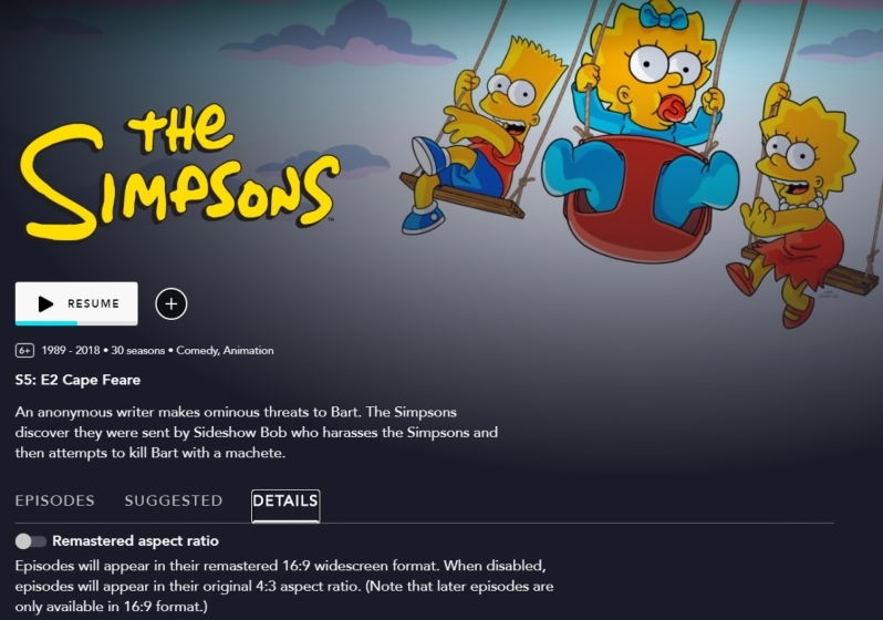 Disney+ now offers The Simpsons in its original 4:3 aspect ratio