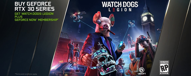 Nvidia plans to give away Watch Dogs Legion and a Geforce Now Subscription with RTX 30 series GPUs