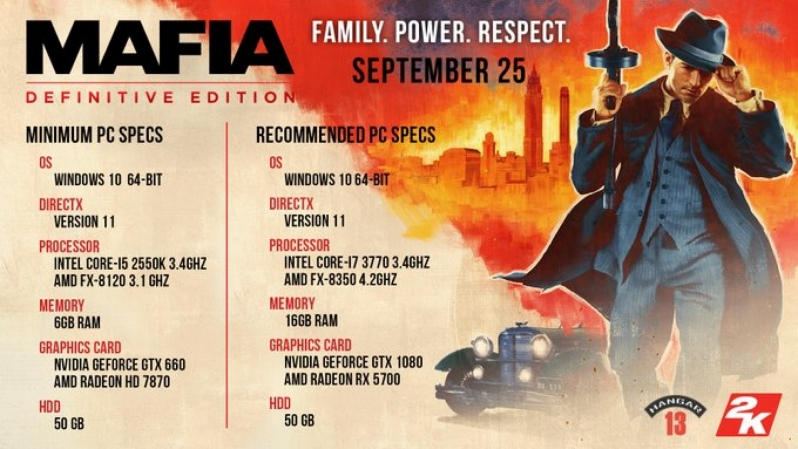 Hangar 13 officially reveals Mafia Definitive Edition's system requirements and PC settings